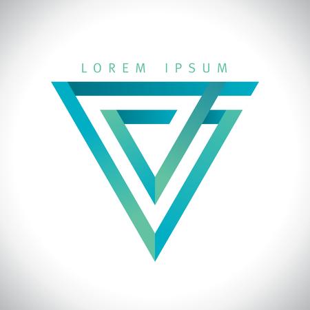 Geometrische V brief, omgekeerde driehoek logo. Stock Illustratie