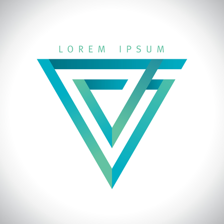 Geometric V letter, inverted triangle logo.