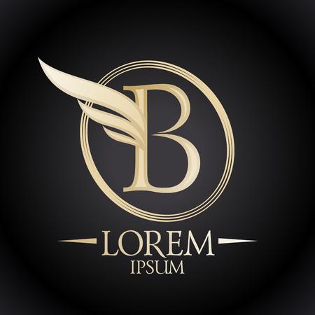 letras de oro: Oro elegante letra B con el ala y el lugar para el logotipo de texto de la plantilla. Vectores