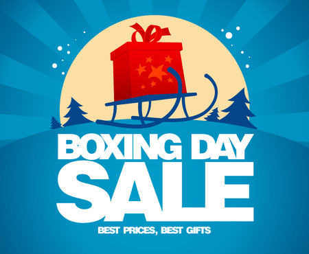 boxing day sale: Gift box and sled against winter landscape, Boxing day sale design.