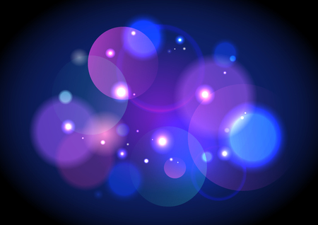 Abstract dark violet bokeh lights with sparkles backdrop.