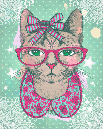 Fashion vintage graphic card with hipster cat woman dressed in collarette, bow and glasses, against green polka dots backdrop, hand drawn vector illustration.