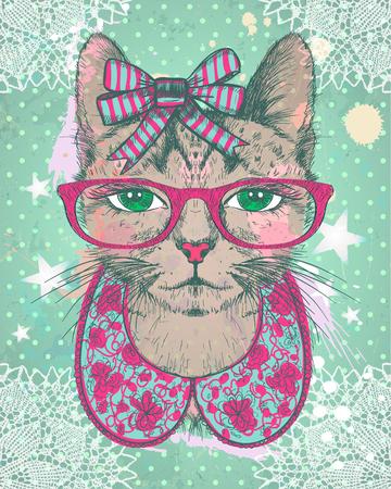 Fashion vintage grafische kaart met hipster kat vrouw gekleed in halskraag, boog en glazen, tegen groene stippen achtergrond, met de hand getekende vector illustratie.