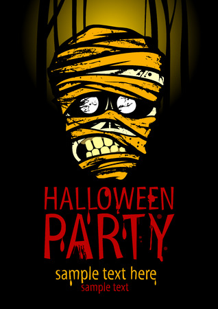 intertainment: Halloween party poster with the face of the mummy and place for text, against moonlight forest backdrop.