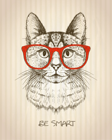 Vintage graphic poster with hipster cat with red glasses, against old paper striped backdrop, be smart quote card, hand drawn vector illustration.