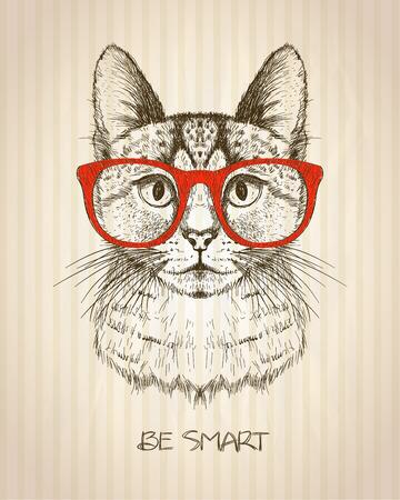 Cartel gráfico de la vendimia con el gato inconformista con los vidrios rojos, contra el viejo telón de fondo de rayas de papel, ya sea tarjeta de la cita inteligente, dibujado a mano ilustración vectorial. Vectores
