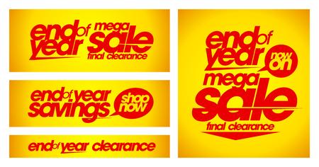 Einde van het jaar te koop gele spandoeken. Stock Illustratie