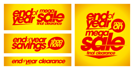 End of year sale yellow banners set.