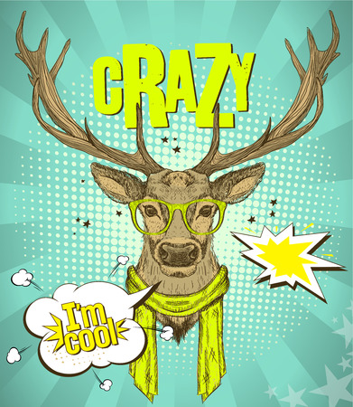 telling: Pop-art style poster with hipster deer dressed in yellow glasses and scarf, telling I am cool, against green rays  backdrop, crazy quote card, vector illustration.
