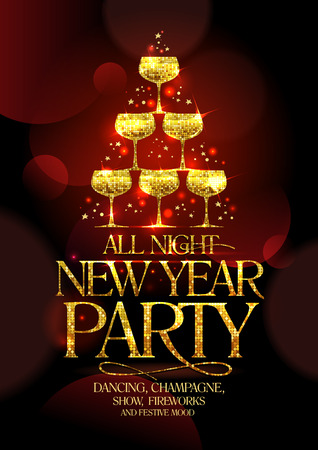 champagne celebration: All night New Year party poster with chic golden headline and golden stack of champagne glasses, in form of spruce decorated sparkling stars, vector illustration.