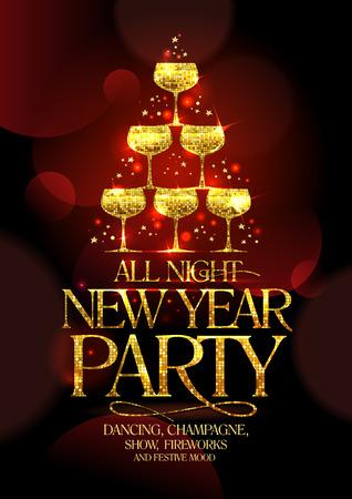 invitacion fiesta: Durante toda la noche de Año Nuevo cartel del partido con elegancia titular de oro y la pila de oro de copas de champán, en forma de abeto decorado estrellas brillantes, ilustración vectorial.