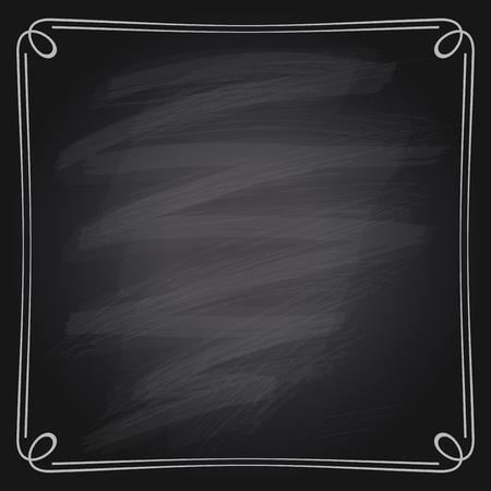 Vector illustration of a simple chalk frame on a chalkboard background.