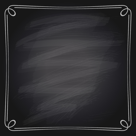 chalk line: Vector illustration of a simple chalk frame on a chalkboard background.