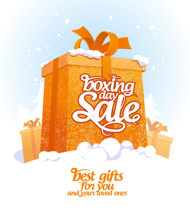 online shopping: Boxing day sale design with gift box in snow.