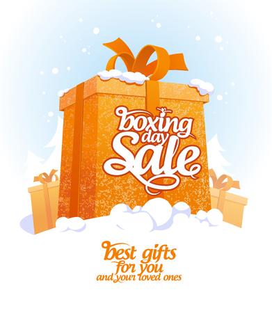 Tweede Kerstdag verkoop ontwerp met gift box in sneeuw. Stock Illustratie