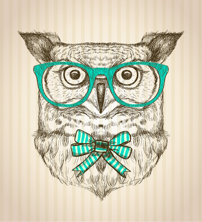 owl symbol: Cute card with hand drawn hipster owl dressed in green glasses and bow. Illustration