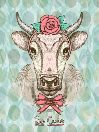 Card con disegnata a mano carino mucca moda vestito di fascia per capelli con una rosa e un fiocco sul suo collo. Archivio Fotografico - 48448293