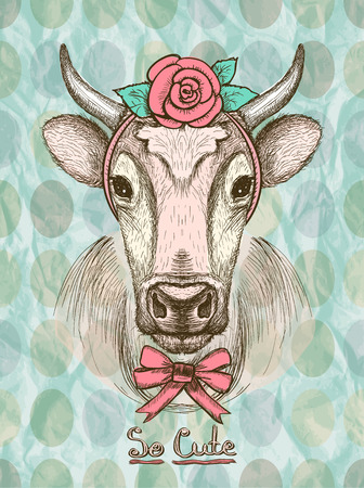 Card with hand drawn cute fashion cow dressed in hair band with a rose and a bow on her neck.