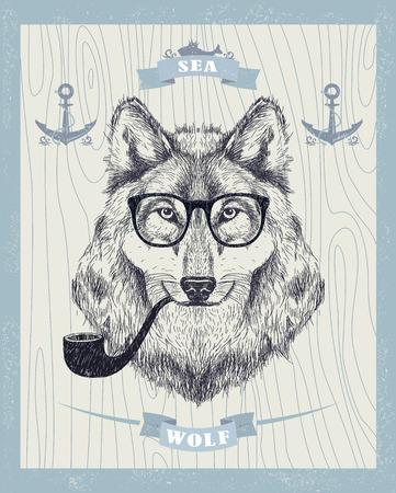 Zeewolf vector kaart, roken hipster wolf met zonnebril en pijp.