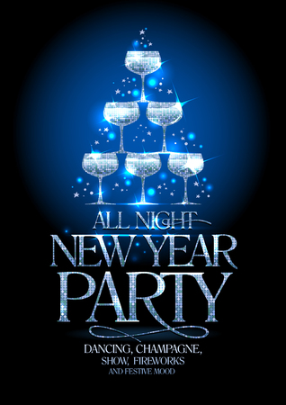 New Year party poster with silver stack of champagne glasses, decorated sparkling stars, vector illustration. Ilustrace