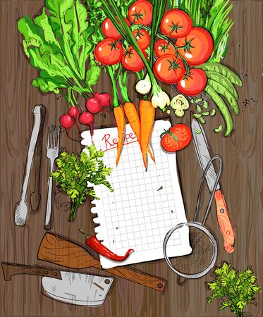 home gardening: Healthy organic vegetables and kitchen utensil on a wooden table background with empty recipe list.