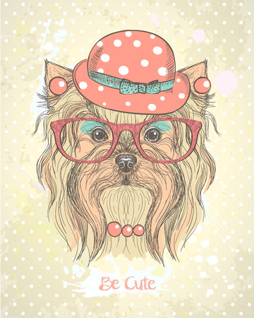 Cute hand drawn card with fashion yorkshire terrier girl, dressed in hat, earrings,necklace and glasses with makeup on her muzzle. Quote card - Be cute. Illustration