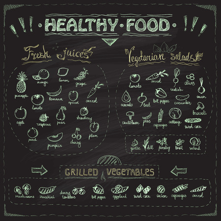 grilled vegetables: Healthy food chalkboard menu with hand drawn assorted fruits and vegetables chalk graphic symbols collection. Fresh juices, vegetarian salads, grilled vegetables.
