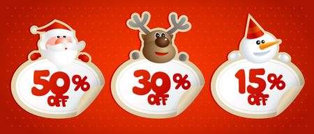 shopping sale: New year or christmas sale coupons, stickers with 50 percents, 30 percents and 15 percents discounts. Illustration