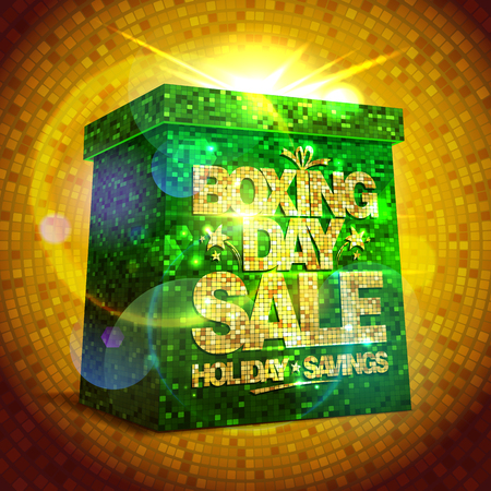 boxing day sale: Rich poster - Boxing day sale with green shiny gift box against gold mosaic backdrop.