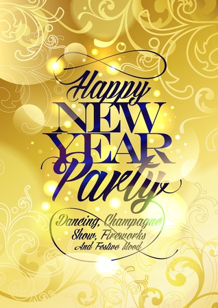 concert background: New Year party gold design with floral elements and bokeh.