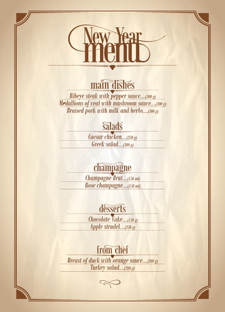 sheet menu: New Year menu list with place for text on a vintage paper backdrop. Illustration