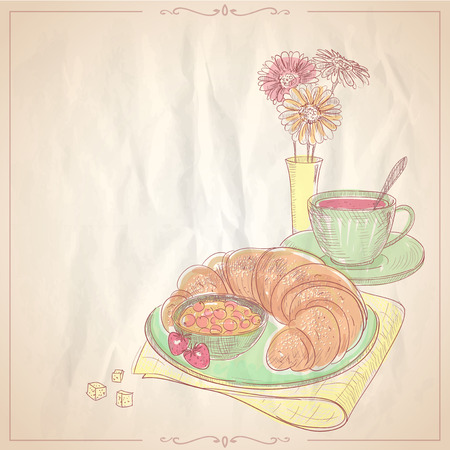 breakfast cup: Hand drawn illustration of a breakfast with croissant, jam  and cup of fruit tea.