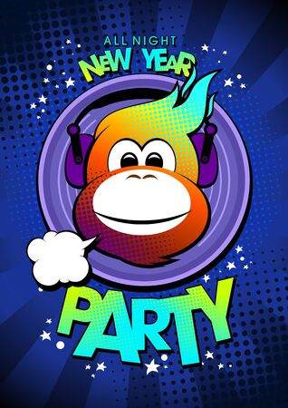 new year party: 2016 hot monkey in earphones New year party design. Illustration