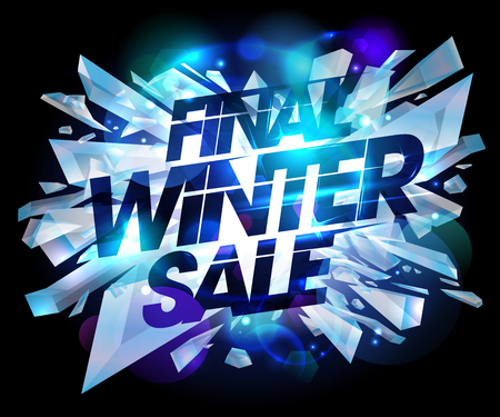 bomb price: Final winter sale design with explosion pieces of ice.