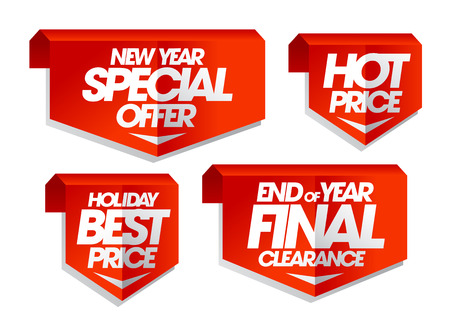 end of year: New year special offer, hot price, holiday best price, end of year final clearance, winter sale tags set.