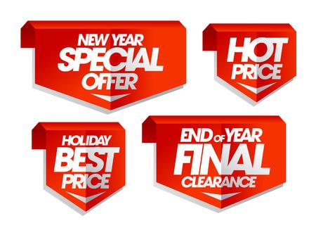 Nieuw jaar speciale aanbieding, hete prijs, vakantie beste prijs, het einde van het jaar definitief door, winter verkoop tags in te stellen.