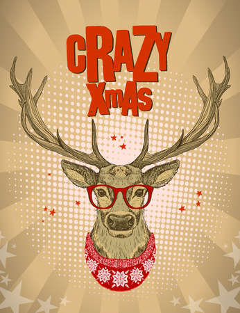 xmas: Pop-art style design with hipster deer dressed in red glasses and knitted sweater, crazy xmas card, vector illustration.