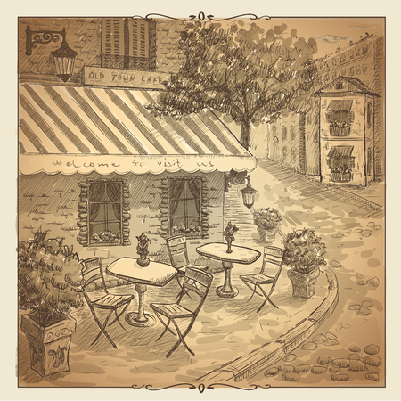 old street: Retro sepia graphic illustration of an old street cafe. Illustration