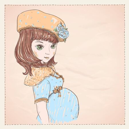 bow belly: Graphic portrait of a pregnant young woman in blue dress and hat with empty place for text Illustration