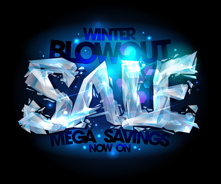 bomb price: Winter blowout sale vector design made of broken icy pieces. Illustration