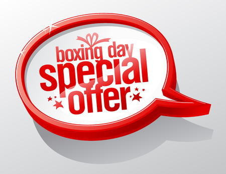 boxing day special: Boxing day special offer, sale speech bubble sign. Illustration