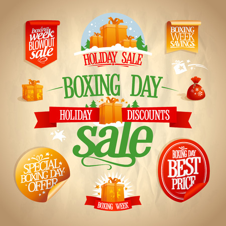 boxing day sale: Boxing day sale signs, designs, banners, stickers and coupons set, vintage style.