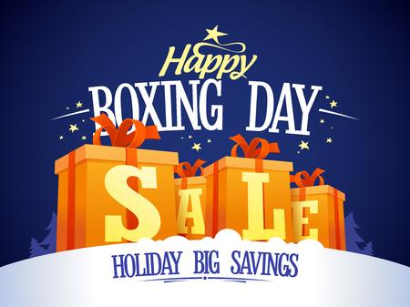 Diseño de la venta del día feliz del boxeo con cajas de regalo en una nieve, día de fiesta un gran ahorro. Foto de archivo - 49592277