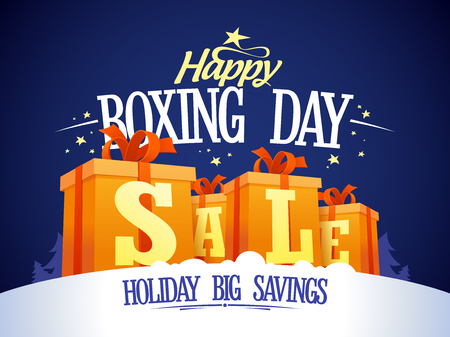 boxing day sale: Happy Boxing day sale design with gift boxes on a snow, holiday big savings.