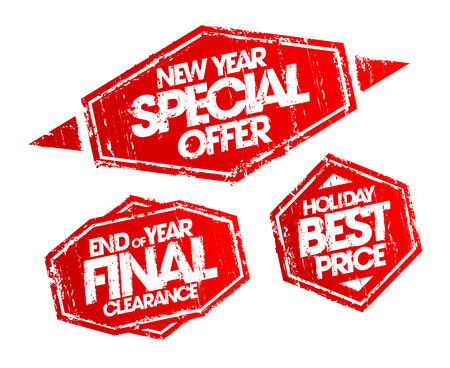 best ad: New year special offer stamp, end of year final clearance stamp, holiday best price stamp. Christmas holidays sale vector stamps set. Illustration