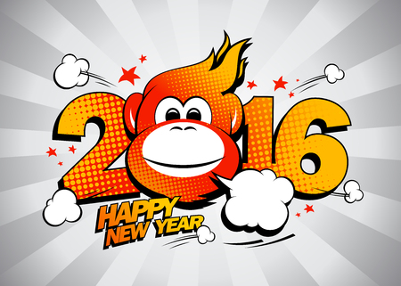 backdrop design: Fiery monkey against gray rays backdrop, comic style 2016 Happy new year design. Illustration