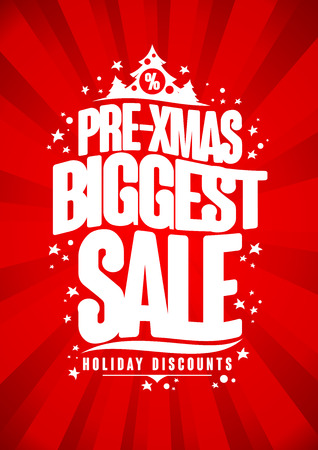 biggest: Pre-xmas biggest sale poster, winter holidays discounts design.
