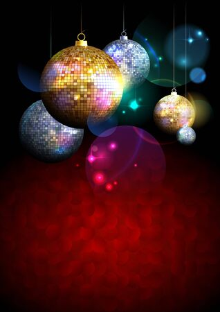 xmas background: Colorful background with fur tree golden and silver mosaic balls on a dark backdrop with place for text.