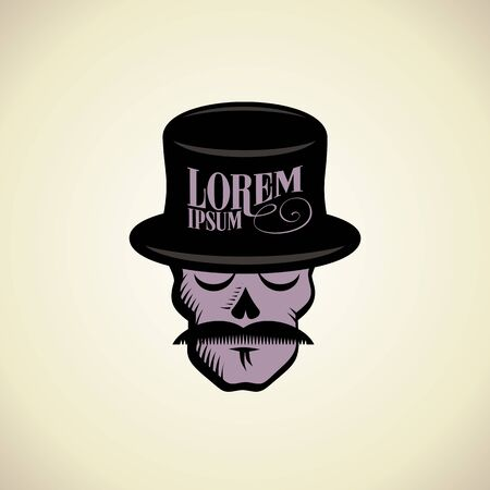 snob: Art with hipster skull dressed in cylinder hat. Illustration