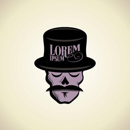 Art with hipster skull dressed in cylinder hat. Illustration